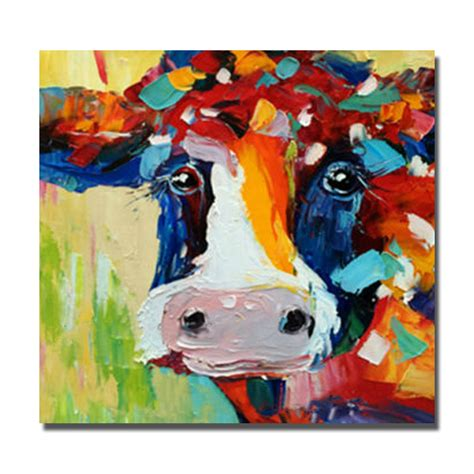 framed pictures for living room abstract oil color cow painting on canvas large wall