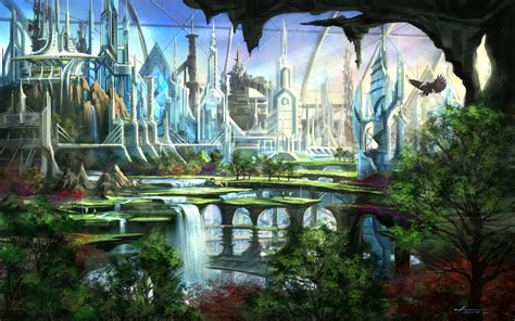 Small by Fantasy Art Cities Waterfalls Nature Trees Wallpaper