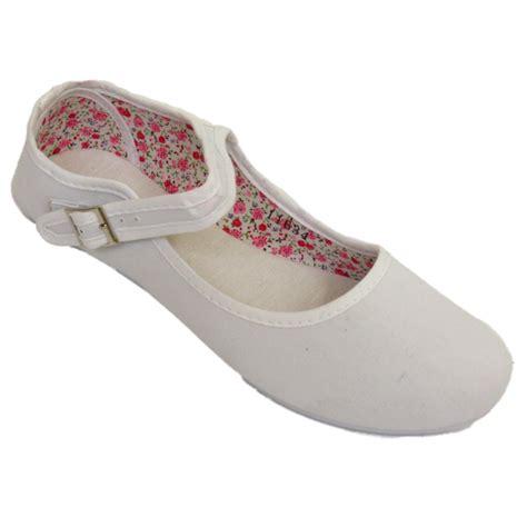 womens white buckle flat ballet ballerina