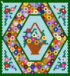 Patchwork Hexagons Patterns Quilt - 25 inch hexagon wall hanging project hexagon quilting