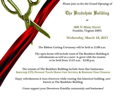 the grand opening of the bradshaw building events