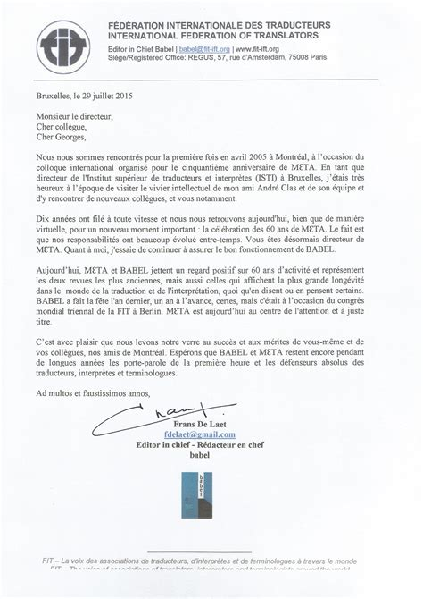 Exemple De Lettre D Invitation Colloque Colloque 60e Anniversaire Meta D 233 Partement De Linguistique Et De Traduction Universit 233 De