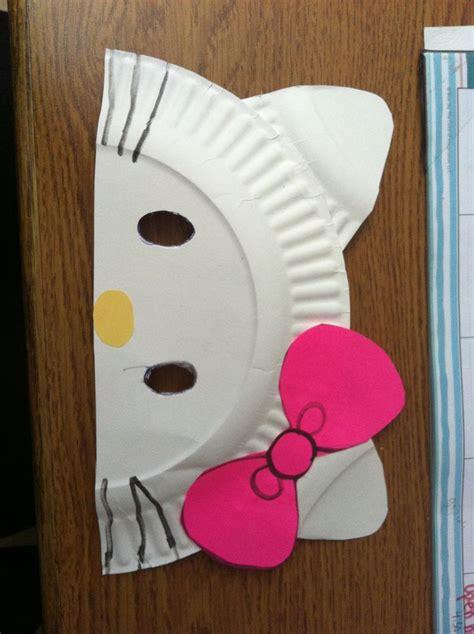 diy  kitty paper plate masks cut paper plate