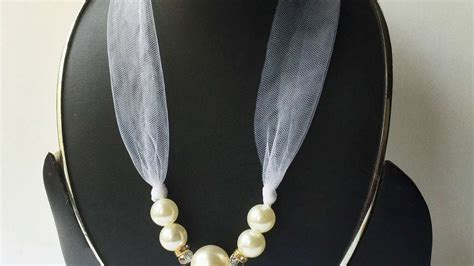 how to make ribbon jewelry how to make a pearl and ribbon necklace diy