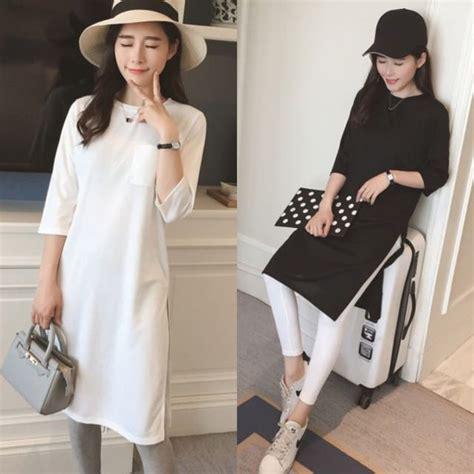 Handbag Fashion Korea 885 simple minimalist basic color three quarter sleeve slit maxly korean style dress white