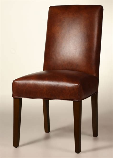 Bristol Straight Back Leather Dining Chair With Tapered Parsons Leather Dining Chairs