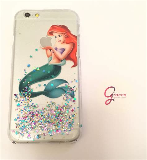 Disney Iphone 55s Casing ariel the mermaid glitter iphone 5 5s 4 4s 5c 6 6plus phone cover glittery sparkly