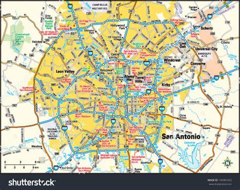 map of san antonio texas area san antonio texas area map stock vector 145981052