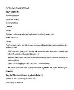 Resume Templates For Entry Level Teachers Resume 9 Free Sle Exle Format Free Premium Templates