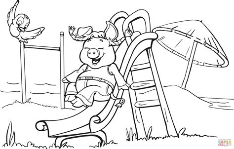 pig on the playground slide coloring page free printable