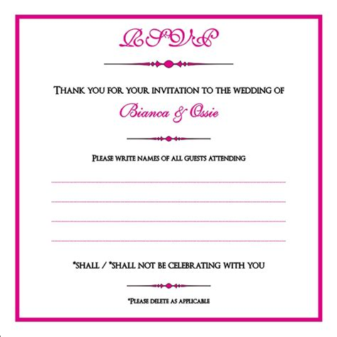 Brambles Wedding Stationery Rsvp Cards Dietary Requirements Email Template