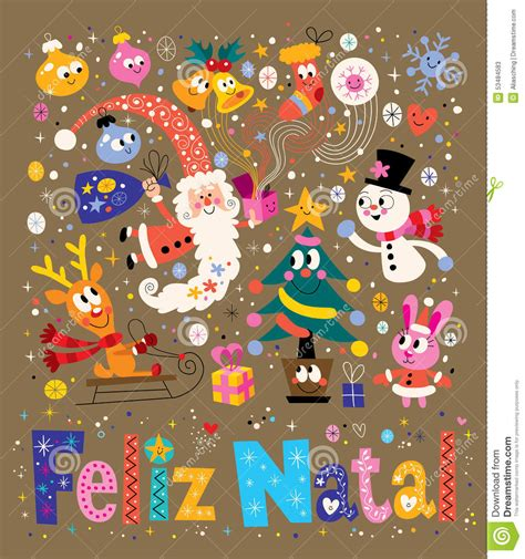 merry christmas feliz natal portuguese portuguese greeting card stock vector image