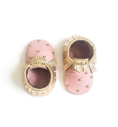baby moccasins toddler moccasins pink gold studded baby
