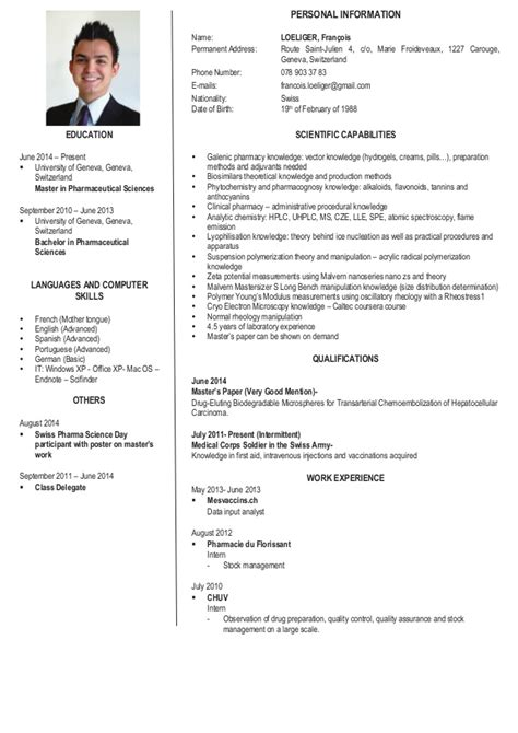 Example Of Resume For Internship by Loeliger Francois Scientific Cv English