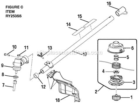ryobi string trimmer parts diagram ryobi ry253ss parts list and diagram ereplacementparts