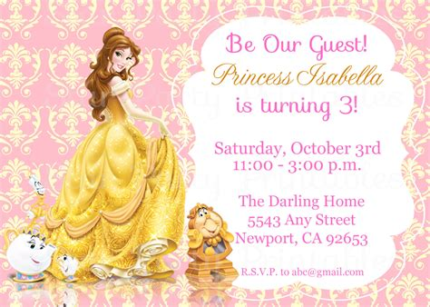 And The Beast Birthday Card Template by Princess The Beast Invitation Kid S