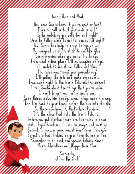 printable elf on the shelf return letter elf on the shelf welcome letter google search kid s