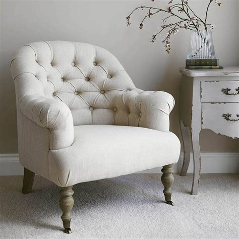 button back armchairs linen button back armchair grey or natural by primrose plum notonthehighstreet com