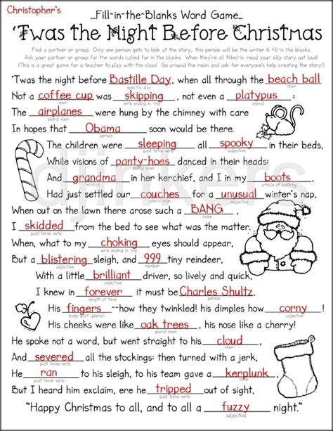 the night before christmas poem exchange gift a printable activity with clipart by dj inkers