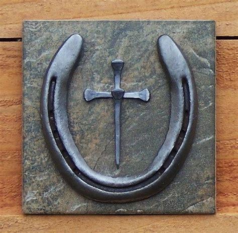 horseshoe nail cross wall hanging by outwestcreations4u on