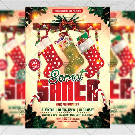 Secret Santa Seasonal A5 Flyer Template Exclsiveflyer Free And Premium Psd Templates Secret Santa Flyer Templates