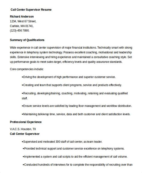 Call Center Supervisor Resume by Call Center Resume Exle 9 Free Word Pdf Documents