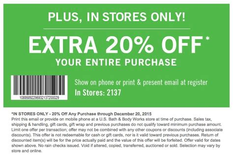 bed bath and body works coupon in store 20 off entire purchase in store
