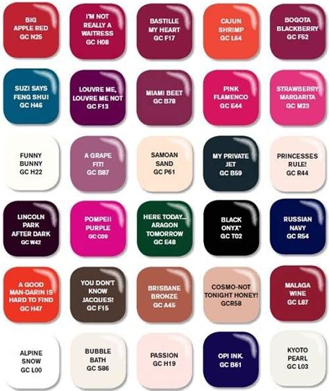 color chart for opi nail polish in late 2013 17 best images about opi nail polish color chart on