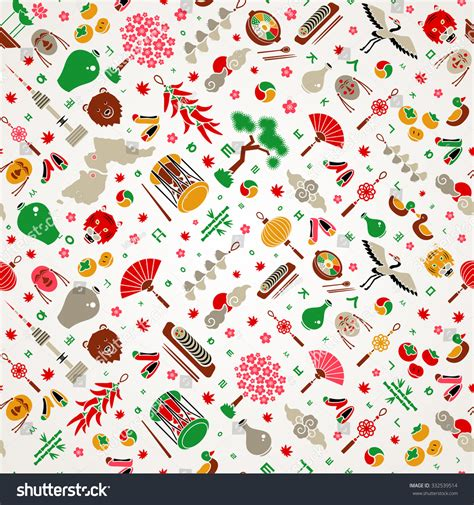 korean pattern background korean colorful background flat icons korea stock vector