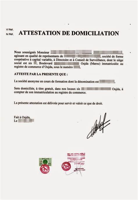 Lettre De Domiciliation Entreprise Modele Attestation De Salaire Word Document