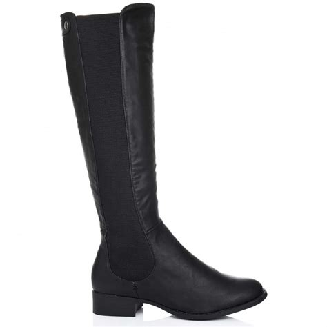 buy flat stretch knee high boots black
