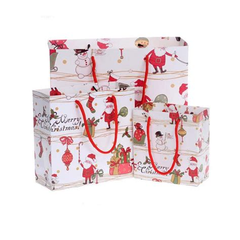 1 pc christmas paper gift bags with handle for food