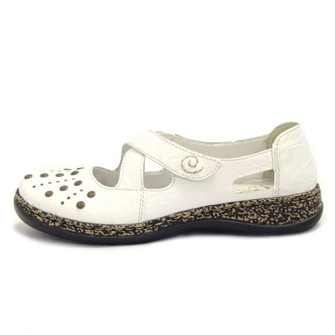 rieker shoes massa white leather casual shoes