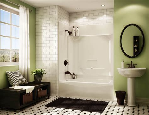 one shower units with seat shelves and tub ideas