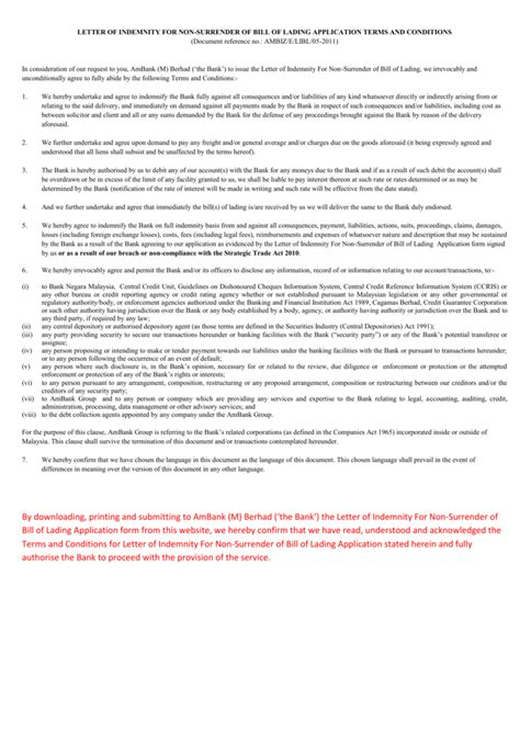 Invoice Letter Of Indemnity letter of indemnity clause docoments ojazlink