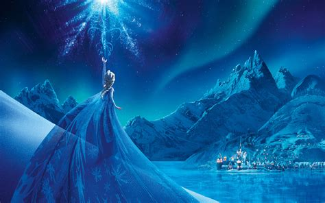 de nieve mirando al hermoso cielo navideo de color azul frozen elsa snow queen palace wallpapers hd wallpapers