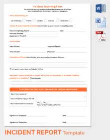 Incident Report Register Template by Sle Incident Report 16 Documents In Pdf Word