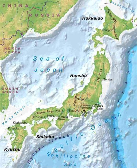 physical map of japan japan physical map