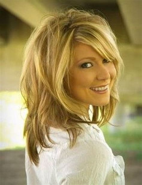 layered beachy medium length haircut shaggy shoulder length layered hairstyles for wavy my