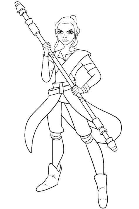 coloring pictures of rey from star wars star wars rey and bb 8 coloring page coloring pictures