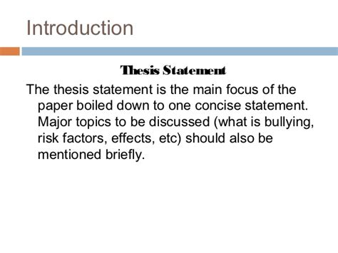Effects Of Bullying Essay by How To Outline An Introductory And Concluding Paragraph