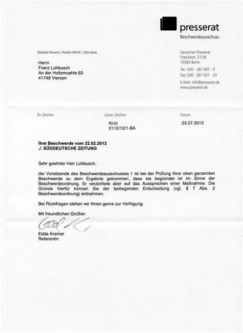 Beschwerde Brief beschwerde s 252 ddeutsche zeitung we are all greeks