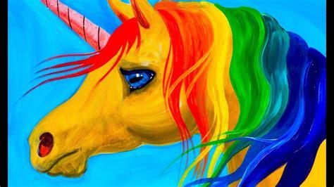 free unicorn painting easy learn to paint rainbow unicorn acrylic tutorial