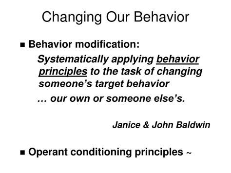 Behavior Modification Uses Learning Principles To Change S Actions Or Feelings by Ppt Behavior Modification I Powerpoint Presentation Id