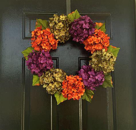 Hydrangea Wreaths For Front Door Fall Hydrangea Wreath All Year Wreath Front Door Wreath