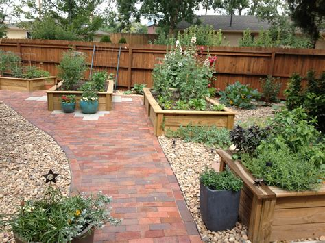 Raised Garden Patio Raised Beds With Brick Patio Far View Outdoor
