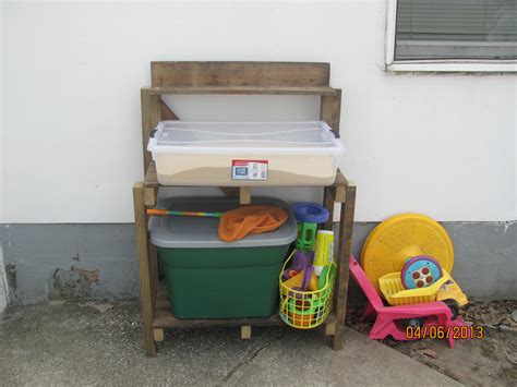 outdoor toy storage bench ana white simple potting bench turned sand table