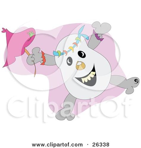 On Jumps Fantasi Pink clipart illustration of a happy skull jumping with a pink umbrella by bpearth 26338