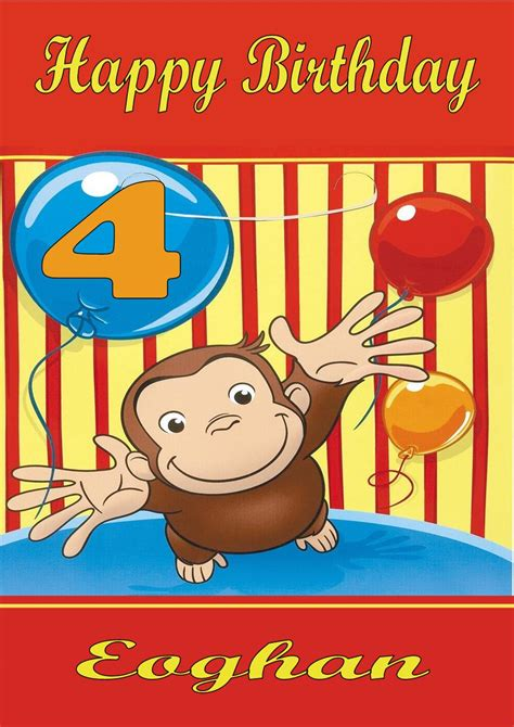 Curious George Birthday Card Personalised Curious George Birthday Card