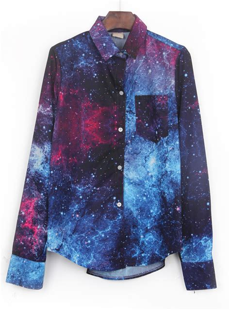 navy wing collar galaxy print curved hem blouse